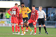 Medy Elito of Newport county © celebrates  after he scores his teams 1st goal to make it 1-1. Skybet football league two match, Newport county v Oxford Utd at Rodney Parade in Newport, South Wales on Tuesday 19th April 2016.<br /> pic by Andrew Orchard, Andrew Orchard sports photography.