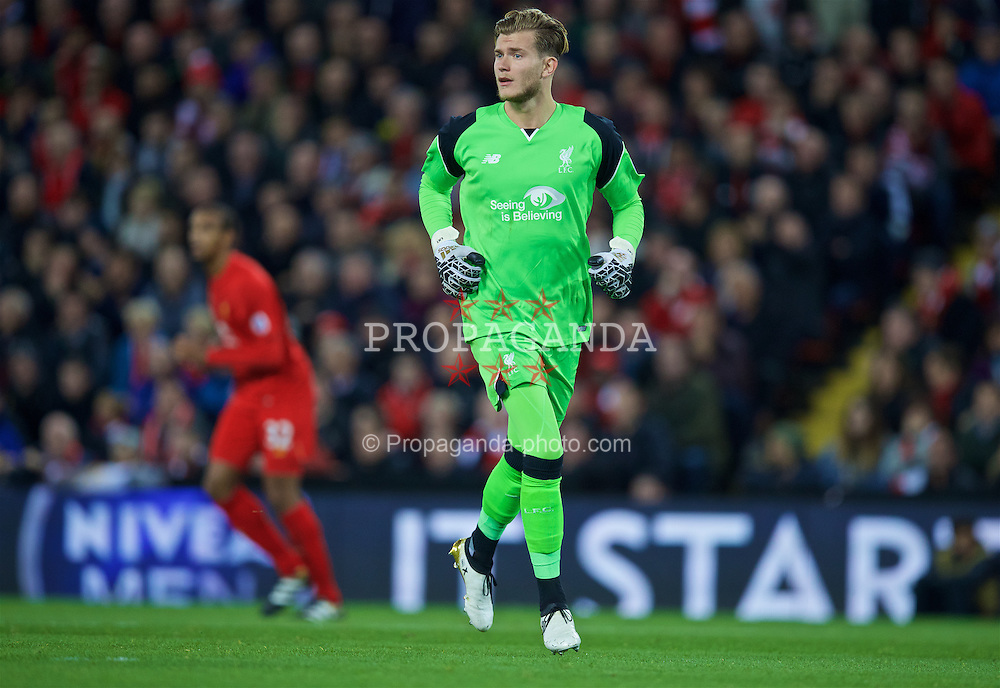 LIVERPOOL, ENGLAND - Monday, October 17, 2016: Liverpool's goalkeeper Loris Karius in action against Manchester United during the FA Premier League match at Anfield. (Pic by David Rawcliffe/Propaganda)
