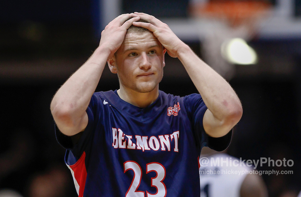 INDIANAPOLIS, IN - DECEMBER 28: Craig Bradshaw #23 of the Belmont Bruins reacts following the game against the Butler Bulldogs at Hinkle Fieldhouse on December 28, 2014 in Indianapolis, Indiana. Butler defeated Belmont 67-56. (Photo by Michael Hickey/Getty Images) *** Local Caption *** Craig Bradshaw