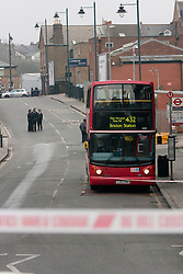 © Licensed to London News Pictures. 02/03/2012. London, UK. View of West Norwood bus garage where a 17 year old male was stabbed on a 432 bus at approximately 1315 hours today (02/03), London Ambulance Service and the London Air Ambulance responded and the victim was taken to a south london hospital where his wounds are said to be 'life threatening', one person is in custody according to a Met Police spokesman.   Photo credit : James Gourley/LNP