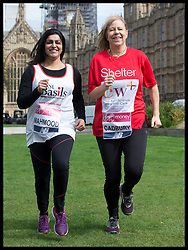 April 17, 2018 - London, London, United Kingdom - Image licensed to i-Images Picture Agency. 17/04/2018. London, United Kingdom. Labour MP's Shabana Mahmood and Ruth Cadbury warming up in Westminster as they get ready to take part in this year's London Marathon on Sunday. (Credit Image: © Stephen Lock/i-Images via ZUMA Press)