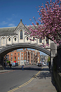 Synod Hall Bridge over Winetavern Street In Dublinon 07th April 2017 in Dublin, Republic of Ireland. Dublin is the largest city and capital of the Republic of Ireland.
