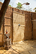 Shower in guest tent, Luwi Bush Camp, South Luangwa National Park. Zambia, Africa