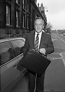 Albert Reynolds Presents Budget   (R95)..1989..25.01.1989..01.25.1989.25th January 1989..Today saw the presentation of the Budget of Albert Reynolds,TD, Minister for Finance. Mr Reynolds will present his budget to the Dáil this afternoon...Albert Reynolds, Minister for Finance, poses for pictures outside the Department of Finance,clutching the case containing the final budget draft.