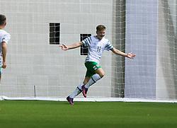 Repulic of Ireland's Callum Thompson celebrates after scoring their second goal. Scotland 0 v 3 Repulic of Ireland, Under 16 Victory Shield played at Oriam, Edinburgh.