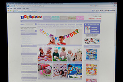 A general view of The Partypieces website, the company owned by Michael and Carole Middleton parent's of Kate Middleton.