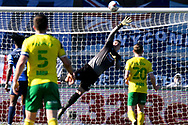 Wycombe Wanderers goalkeeper (on loan from Birmingham City) David Stockdale (31) makes an important save during the EFL Sky Bet Championship match between Wycombe Wanderers and Norwich City at Adams Park, High Wycombe, England on 28 February 2021.