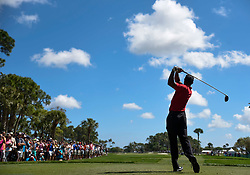 February 25, 2018 - Palm Beach Gardens, Florida, U.S. - Tiger Woods tees off of the third hole during the final round of the 2018 Honda Classic at PGA National Resort and Spa in Palm Beach Gardens, Fla., on Sunday, February 25, 2018. (Credit Image: © Andres Leiva/The Palm Beach Post via ZUMA Wire)