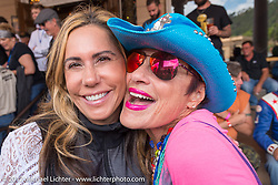 Land Speed Record holder Valerie Thompson and Diva Amy before the Legends Ride at the Franklyn Hotel on Main Street in Deadwood during the annual Sturgis Black Hills Motorcycle Rally. Deadwood, SD, USA. Monday August 7, 2017.  Photography ©2017 Michael Lichter.