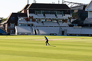 A loan Yorkshire player warms up before the final day of the Bob Willis Trophy match between Yorkshire County Cricket Club and Leicestershire County Cricket Club at Emerald Headingley Stadium, Leeds, United Kingdom on 9 September 2020.