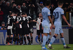 TURIN, Nov. 27, 2019  FC Juventus' players celebrate their goal during the UEFA Champions League Group D match between FC Juventus and Atletico Madrid in Turin, Italy, Nov. 26, 2019. (Photo by Federico Tardito/Xinhua) (Credit Image: © Cheng Tingting/Xinhua via ZUMA Wire)