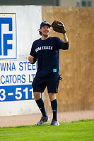 KELOWNA, CANADA - JUNE 28: NHL Nashville Predators player Ryan Johansen makes a catch during the opening charity game of the Home Base Slo-Pitch Tournament fundraiser for the Kelowna General Hospital Foundation JoeAnna's House on June 28, 2019 at Elk's Stadium in Kelowna, British Columbia, Canada.  (Photo by Marissa Baecker/Shoot the Breeze)