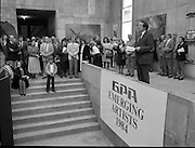 The G.P.A.awards for Emerging Artists..(Guinness Peat Aviation).1984..23.09.1984..09.23.1984..23rd September 1984..The award ceremony was held at The Royal Hibernian Academy of Arts,Gallagher Gallery,Ely Place,Dublin..Photo of Mr Ted Nealon TD,Minister for Arts and Culture,as he addresses the audience at the award giving ceremony.