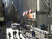 Christmas tree set up on Wall street at the New York Stock Exchange