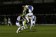 Paul Robinson of AFC Wimbledon and Tom Parkes of Bristol Rovers FC tussle during the Sky Bet League 2 match between Bristol Rovers and AFC Wimbledon at the Memorial Stadium, Bristol, England on 8 March 2016. Photo by Stuart Butcher.