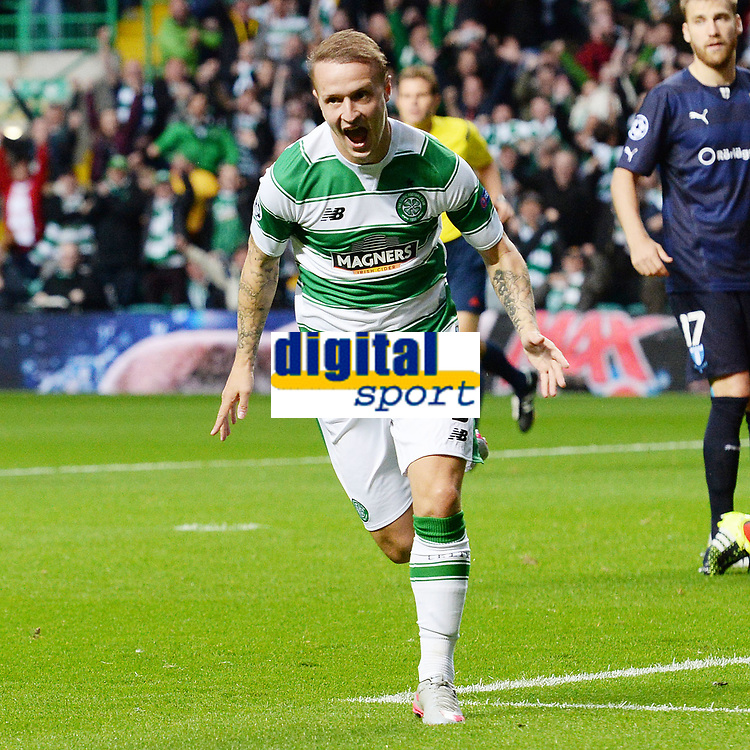 19/08/15 UEFA CHAMPIONS LEAGUE PLAY-OFF 1ST LEG<br /> CELTIC V MALMO<br /> CELTIC PARK - GLASGOW<br /> Leigh Griffiths wheels away to celebrate his early opener for Celtic.