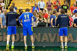 Players with fans after handball match between National teams of Slovenia and Hungary in play off of 2015 Men's World Championship Qualifications on June 15, 2014 in Rdeca dvorana, Velenje, Slovenia. Photo by Urban Urbanc / Sportida