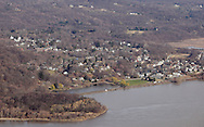Cornwall, New York - A view of the village of Cold Spring along the Hudson River from Storm King Mountain State Park on March 27, 2010.