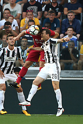 August 19, 2017 - Turin, Italy - Lichtsteiner heads the ball during the Serie A football match n.1 JUVENTUS - CAGLIARI on 19/08/2017 at the Allianz Stadium in Turin, Italy. (Credit Image: © Matteo Bottanelli/NurPhoto via ZUMA Press)
