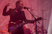 Radiohead, lead by Thom York, perform on the Pyramid Stage in fronmt of very excited fans - The 2017 Glastonbury Festival, Worthy Farm. Glastonbury, 23 June 2017