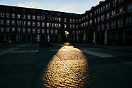 Empty streets and social distancing during the Coronavirus outbreak. Plaza Mayor Square on April 29, 2020 in Madrid
