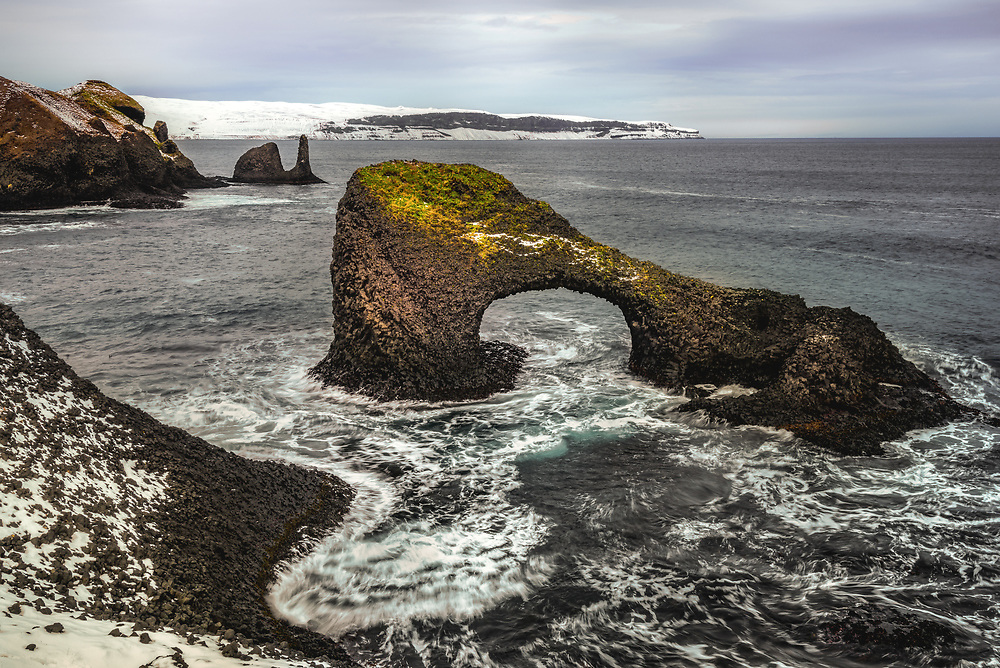 Basalt formations of Raudanes peninsula in Iceland
