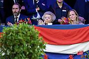 Prinses Beatrix samen met prinses Margarita tijdens de Grote Prijs van Amsterdam op Jumping Amsterdam.<br /> <br /> Princess Beatrix together with Princess Margarita during the Grand Prix of Amsterdam at Jumping Amsterdam.
