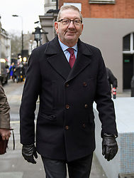 © Licensed to London News Pictures. 24/01/2020. London, UK. General Secretary of Unite the Union LEN MCCLUSKEY is seen arriving for a Unite Union executive meeting in London, where Unite Union are expected to back a candidate in the Labour Party leadership election. Current leader Jeremy Corbyn announced he would step aside after Labour lost an 80 seat majority to the Conservatives in a general election. Photo credit: Ben Cawthra/LNP