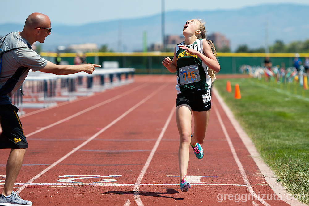 Lake Hazel eighth grader Lexy Halladay wins the YMCA Track & Field Middle School Invitational 1600 meter run on May 28, 2016 at Mountain View High School, Meridian, Idaho.<br /> <br /> Hallady won the event in 4:46.47, the fastest time in the nation this year for an eighth grader.