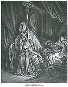 Judith and Holofernes [Judith 13:8] From the book 'Bible Gallery' Illustrated by Gustave Dore with Memoir of Dore and Descriptive Letter-press by Talbot W. Chambers D.D. Published by Cassell & Company Limited in London and simultaneously by Mame in Tours, France in 1866 . The Book of Judith is a deuterocanonical book, included in the Septuagint and the Catholic and Eastern Orthodox Christian Old Testament of the Bible, but excluded from the Hebrew canon