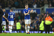 Seamus Coleman of Everton applauds the fans at the final whistle.  Premier league match, Everton v Manchester City at Goodison Park in Liverpool, Merseyside on Sunday 15th January 2017.<br /> pic by Chris Stading, Andrew Orchard sports photography.