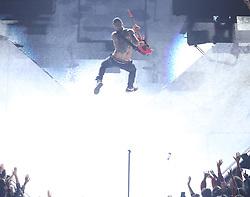 Maroon 5 frontman Adam Levine takes flight during the Super Bowl LIII Halftime Show on Sunday, February 3, 2019, at Mercedes-Benz Stadium in Atlanta. Photo by Alyssa Pointer/Atlanta Journal-Constitution/TNS/ABACAPRESS.COM