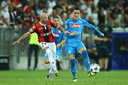 August 22, 2017 - Nice, France - Cristophe Jallet of Nice vies Jose Maria Callejon of Napoli during the UEFA Champions League play-off football match between Nice and Napoli at the Allianz Riviera stadium in Nice, southeastern France, on August 22, 2017. (Credit Image: © Matteo Ciambelli/NurPhoto via ZUMA Press)