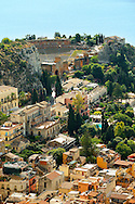 The Greek amphitheater  and Roof top Arial view of Taormina Sicily, Italy .<br /> <br /> Visit our SICILY PHOTO COLLECTIONS for more   photos  to download or buy as prints https://funkystock.photoshelter.com/gallery-collection/2b-Pictures-Images-of-Sicily-Photos-of-Sicilian-Historic-Landmark-Sites/C0000qAkj8TXCzro