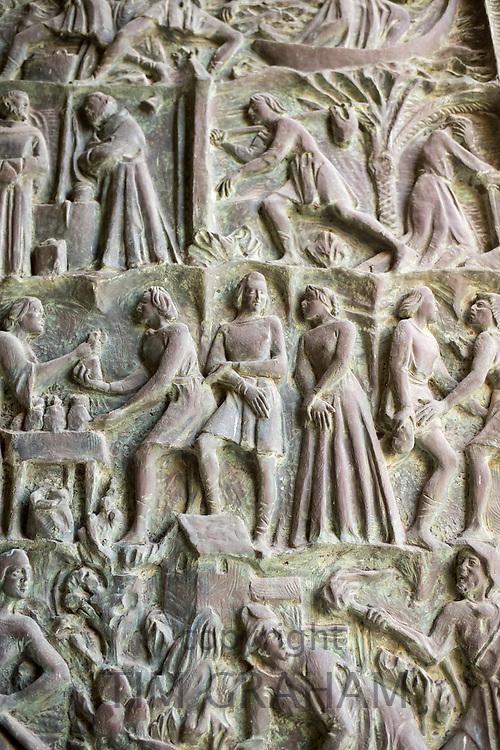 Detail of ornate door of Baroque Cathedral of Saint Nicholas - Basilica di San Nicolo in Noto city, Sicily, Italy