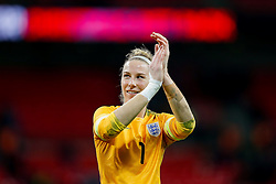 Karen Bardsley of England applauds the supporters after Germany win the game 0-3 - Photo mandatory by-line: Rogan Thomson/JMP - 07966 386802 - 23/11/2014 - SPORT - WOMEN'S FOOTBALL - Wembley Stadium - England v Germany - Breast Cancer Care International Friendly Match.