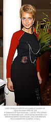 LADY ISABELLA HERVEY at a party in London on 22nd October 2002.PEI 103