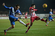 Jordan Richards (Hartlepool United) clears the ball downfield during the Sky Bet League 2 match between Accrington Stanley and Hartlepool United at the Fraser Eagle Stadium, Accrington, England on 19 January 2016. Photo by Mark P Doherty.