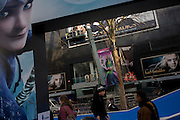 "James Bond and fantasy theme characters' faces from ""Rise of the Guardians"" in London's Leicester Square. The DreamWorks production is a 2012 3D computer-animated fantasy-adventure film based on William Joyce's The Guardians of Childhood book series and The Man in the Moon short film by Joyce and Reel FX."
