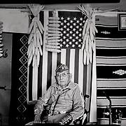 A portrait of Navajo Code Talker Joe Vandever, Sr., July 12, 2019, in his family's hogan, Haystack, New Mexico. Joe passed away in January, 2020.