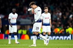 Dele Alli of Tottenham Hotspur cuts a dejected figure after defeat to Ajax - Mandatory by-line: Robbie Stephenson/JMP - 30/04/2019 - FOOTBALL - Tottenham Hotspur Stadium - London, England - Tottenham Hotspur v Ajax - UEFA Champions League Semi-Final 1st Leg