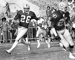 Oakland Raiders Skip Thomas with interception TD<br />against the GB Packers. (1976 photo/Ron Riesterer)