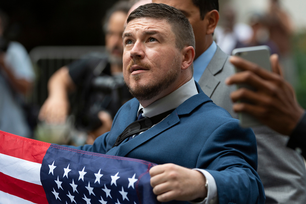 """Jason Kessler marches with other white supremacists to Lafayette Square during the """"Unite the Right 2"""" rally in Washington, D.C. on Sunday, August 12, 2018."""