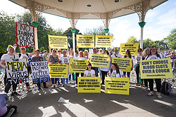 © Licensed to London News Pictures. 25/09/2021. Newcastle, UK. Anti-vaxxers hold banners and shout slogans as they take part in a demonstration in Leazes Park, Newcastle  against mandatory vaccination passports and the vaccination of teenagers.  Photo credit: Ioannis Alexopoulos/LNP
