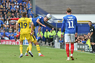 Portsmouth Midfielder, Ben Thompson (32) wins header during the EFL Sky Bet League 1 match between Portsmouth and Oxford United at Fratton Park, Portsmouth, England on 18 August 2018.