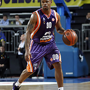 Power Electronics Valencia's Omar COOK during their Euroleague Basketball Top 16 Game 2 match Fenerbahce Ulker between Power Electronics Valencia at Sinan Erdem Arena in Istanbul, Turkey, Thursday, January 27, 2011. Photo by TURKPIX