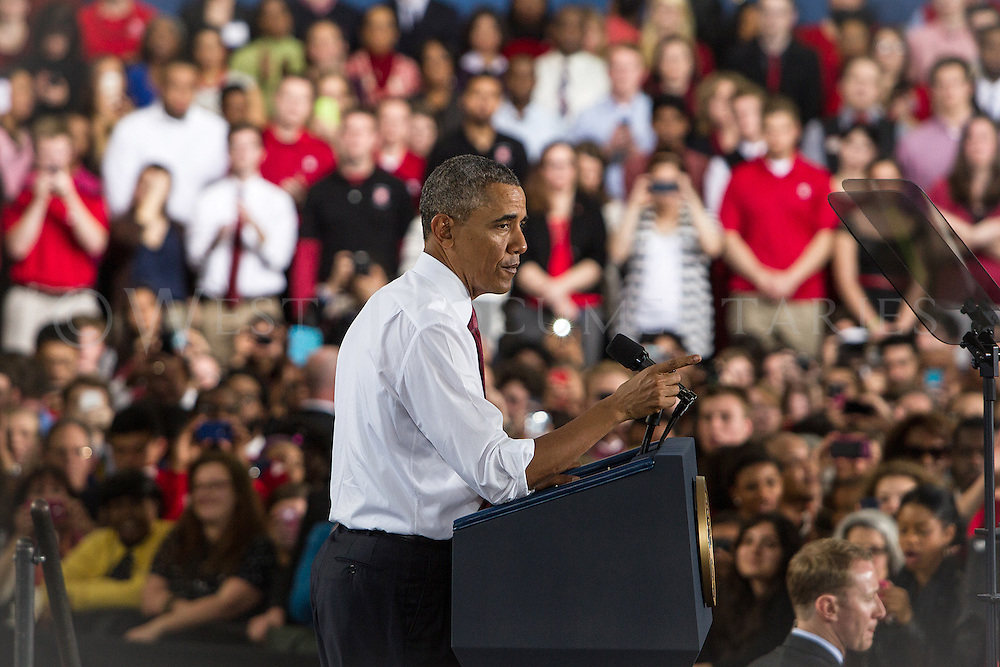 President Obama speaks to the crowd at NC State University on the topic of jobs, opportunity and building a stronger middle class on Jan. 15.