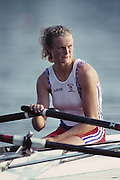 Barcelona, SPAIN.   GBR W2X. Bow, Annabel EYRES, 1992 Olympic Rowing Regatta Lake Banyoles, Catalonia [Mandatory Credit Peter Spurrier/ Intersport Images]