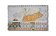 Minoan wall art freco depicting a procession leading a goat from Agia Triada (Hagia Triada) Crete. 1450-1300 BC. Heraklion Archaeological Museum.  White Background. <br /> <br /> This minoan fresco found at the minoan settlement of Hagia Triada, depicts a sacrifical procession leading animals to be sacrificed. .<br /> <br /> If you prefer to buy from our ALAMY PHOTO LIBRARY  Collection visit : https://www.alamy.com/portfolio/paul-williams-funkystock/minoan-art-artefacts.html . Type -   Heraklion   - into the LOWER SEARCH WITHIN GALLERY box. Refine search by adding background colour, place, museum etc<br /> <br /> Visit our MINOAN ART PHOTO COLLECTIONS for more photos to download  as wall art prints https://funkystock.photoshelter.com/gallery-collection/Ancient-Minoans-Art-Artefacts-Antiquities-Historic-Places-Pictures-Images-of/C0000ricT2SU_M9w