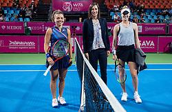 PORTOROZ, SLOVENIA - SEPTEMBER 19: Jasmine Paolini, Katarina Srebotnik and Alison Riske of USA at Singles final during the WTA 250 Zavarovalnica Sava Portoroz at SRC Marina, on September 19, 2021 in Portoroz / Portorose, Slovenia. Photo by Vid Ponikvar / Sportida